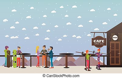 Vector illustration of cafe on mountain and visitors, flat style