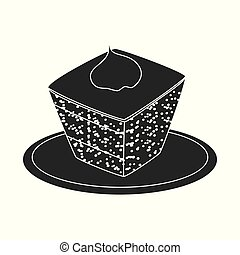 Vector illustration of cake and food sign. Set of cake and dessert stock symbol for web.