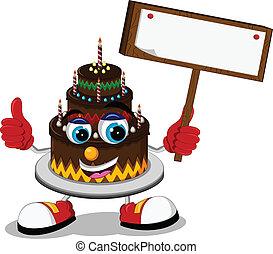 cake cartoon holding blank board