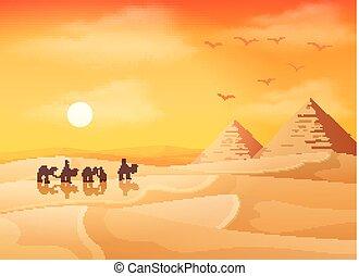 Camel caravan in wild Africa pyramids landscape at sunset background