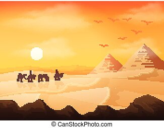 Camel caravan in wild Africa pyramids landscape at sunset background