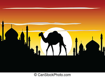 camel trip with mosque background - vector illustration of ...