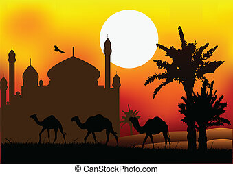 vector illustration of camel trip with mosque background