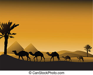 vector illustration of camels silhouette