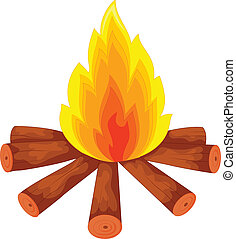 campfire on white - vector illustration of campfire on white