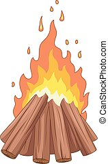 Campfire with woodpile on white background