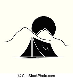 Vector illustration of campground logo, image measuring...