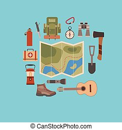 Vector illustration of camping concept.