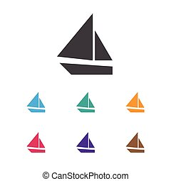 Vector Illustration Of Camping Symbol On Boat Icon. Premium Quality Isolated Yacht Element In Trendy Flat Style.