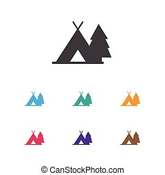 Vector Illustration Of Camping Symbol On Journey Icon. Premium Quality Isolated Trip Element In Trendy Flat Style.