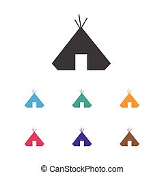 Vector Illustration Of Camping Symbol On Refuge Icon. Premium Quality Isolated Sanctuary Element In Trendy Flat Style.