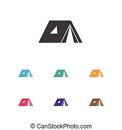 Vector Illustration Of Camping Symbol On Tabernacle Icon....