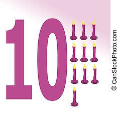 Vector illustration of candle and number 10