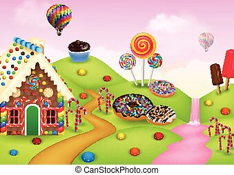 Candyland with gingerbread house - Vector illustration of...