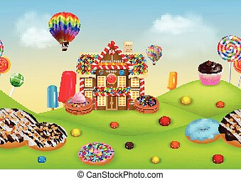 Candyland with gingerbread house