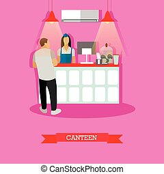 Vector illustration of canteen design element with woman serving visitor