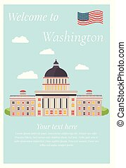 Vector illustration of Capitol in Washington.