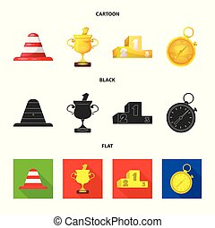 Vector illustration of car and rally icon. Collection of car and race vector icon for stock.