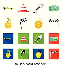 Vector illustration of car and rally logo. Set of car and race vector icon for stock.