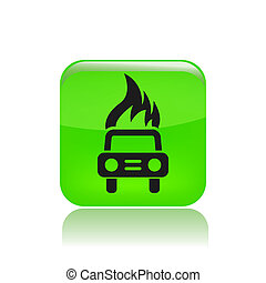 Vector illustration of car burning icon