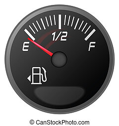 petrol meter, fuel gauge - vector illustration of car dash ...
