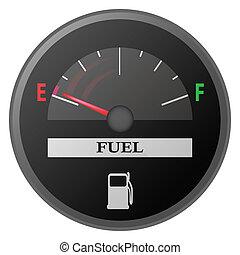 car dash board petrol meter, fuel gauge