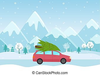 Vector Illustration of Car with a christmas tree on the roof on the mountains background.
