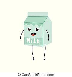 Vector illustration of cardboard box with milk cartoon character.