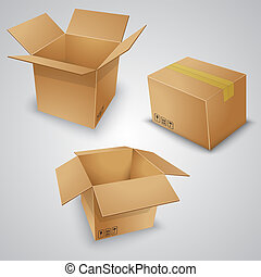 Vector illustration of cardboard boxes. Closed and open