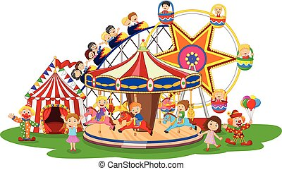 Carton amusement Park - Vector illustration of Carton...