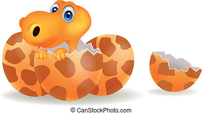Cartoon a baby dinosaur hatching - Vector illustration of...