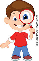 Cartoon a boy and a magnifier - Vector illustration of ...