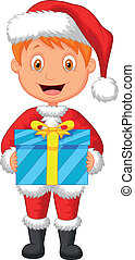 Cartoon a boy in red clothes holdin