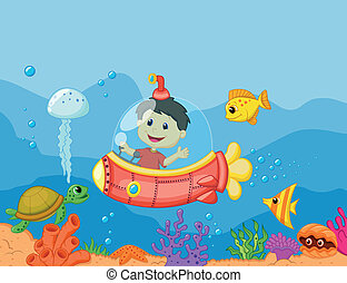 Cartoon a kids in the submarine - Vector illustration of...