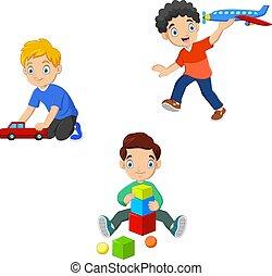 Cartoon a kids playing toys