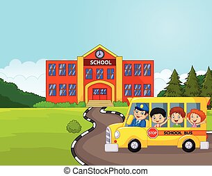 Cartoon a school bus and kids in fr