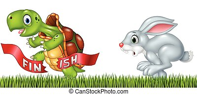 Cartoon a turtle win the race against a bunny - Vector...