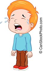 Cartoon a young boy crying - Vector illustration of Cartoon ...