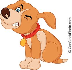 Vector illustration of Cartoon A young Pit Bull puppy scratching an itch