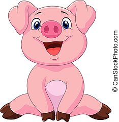 Cartoon adorable baby pig - Vector illustration of Cartoon...