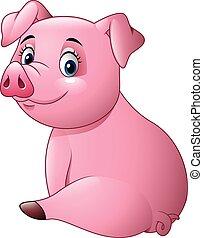Cartoon adorable baby pig