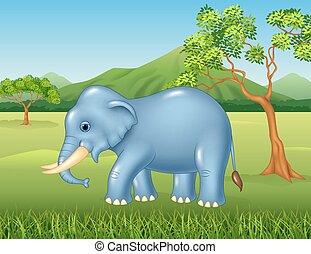 Cartoon African elephant