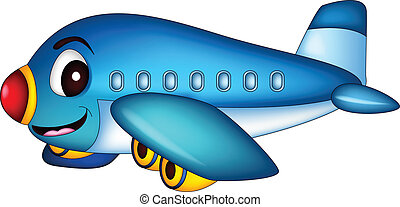 cartoon airplane flying - vector illustration of cartoon...