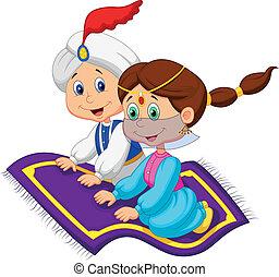 Vector illustration of Cartoon Aladdin on a flying carpet traveling