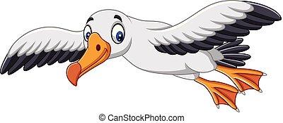 Cartoon albatross flying