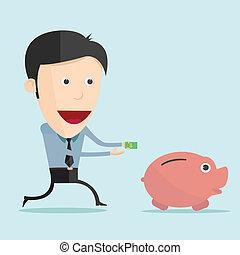 Vector illustration of cartoon and money in flat design