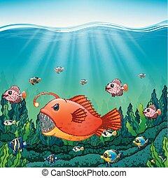 Cartoon angler fish underwater