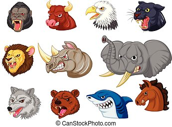 Cartoon angry animals head collection set