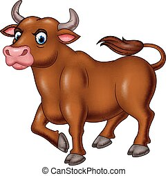 Cartoon angry bull isolated on white background - Vector ...