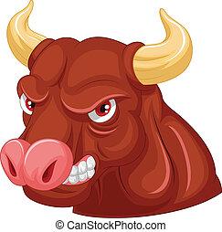 Cartoon Angry bull mascot character